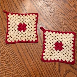 Vintage Pair Red & White Crocheted Hot Pads